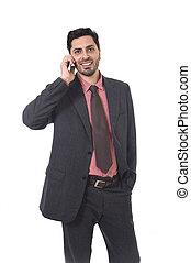 falando, hispânico, móvel, homem negócios, etnicidade, jovem, retrato, telefone, incorporado, atraente, latim