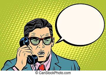 falando, homem negócios, Surpresa, telefone