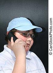 falando, homem, telefone, jovem