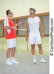 falando, homens, corte, dois, esportes