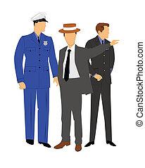 falando, homens, policial