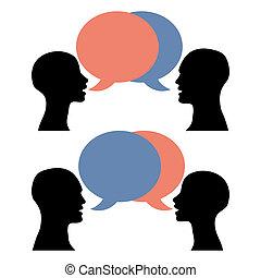 falando, homens, silueta, mulheres