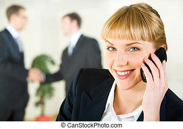 falando, ligado, a, móvel