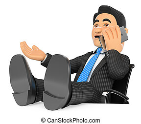 falando, móvel, cima, pés, telefone, homem negócios, 3d