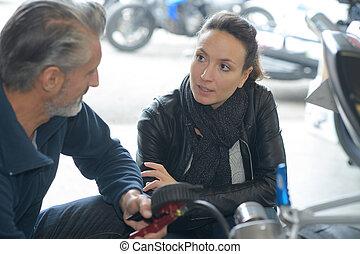 falando, mecânico, motor, femininas, aproximadamente, cliente, car, macho