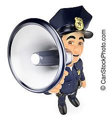 falando, megafone, 3d, policial