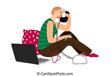 falando, menina, telefone