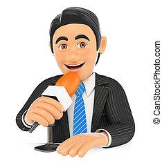 falando, microfone, 3d, repórter