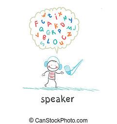 falando, microfone, orador, letras, pensa