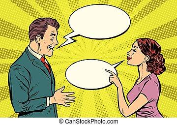 falando, mulher, homem