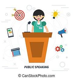 falando, mulher, público, negócio