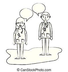 falando, mulher profissional, homem, doutor