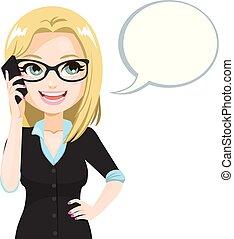 falando, mulher, smartphone, óculos