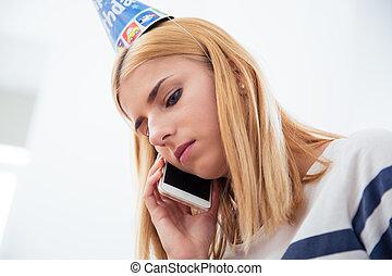 falando, mulher, telefone