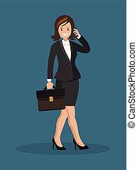 falando, mulher, telefone., negócio