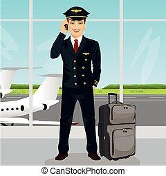 falando, observação, bagagem, convés, jovem, telefone, aeroporto, frente, piloto