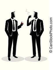 falando, outro, homens negócios, casualmente, cada
