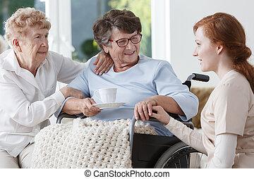 falando, paciente enfermeira
