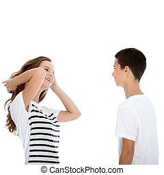 falando, par adolescente, jovem