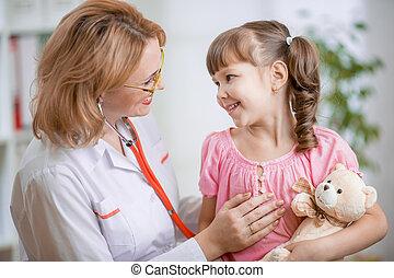 falando, pediatra, positively, criança