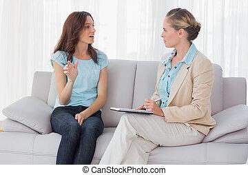 falando, psicólogo, mulher, dela