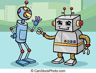 falando, robôs, caricatura, ilustração