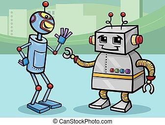 falando, robôs, ilustração, caricatura