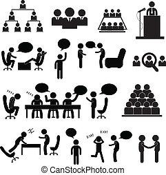 falando, símbolo, reunião