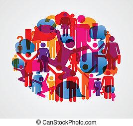 falando, social, bolha, pessoas