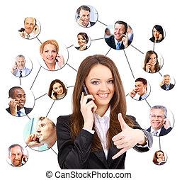 falando, telefone, grupo, pessoas