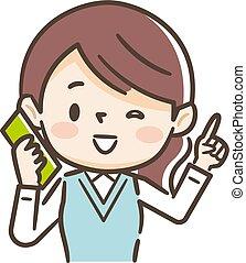 falando, telefone., ilustração, executiva