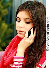 falando, telefone, mulher, pensativo, jovem