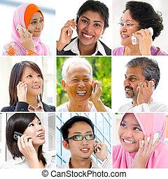 falando, telefone., pessoas