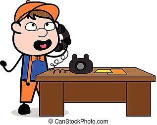 falando, trabalhador, -, carpinteiro, ilustração, telefone, vetorial, retro, caricatura