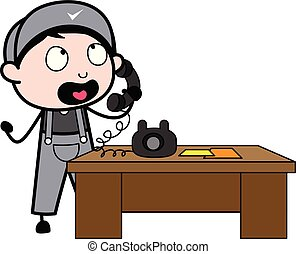 falando, trabalhador, -, ilustração, telefone, vetorial, retro, repairman, caricatura