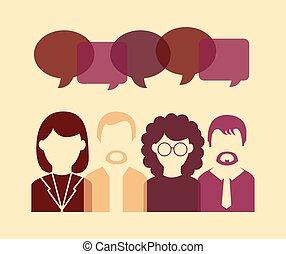 falando, vetorial, pessoas