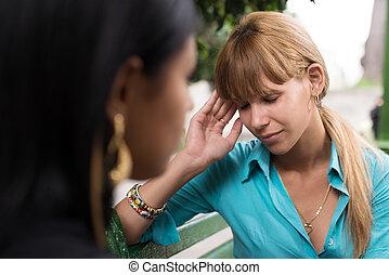 falar mulher, enquanto, tendo, amigo, dor de cabeça