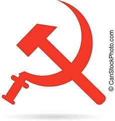 falcetto, e, martello, soviet, simbolo, stemma
