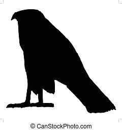falcon, ancient Egyptian symbol - silhouette of falcon,...