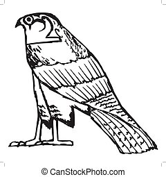 falcon, ancient Egyptian symbol - sketch illustration of...