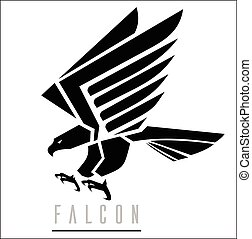 falcon., atacar, negro