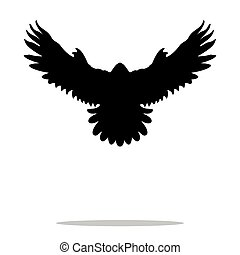 Falcon bird black silhouette animal. Vector Illustrator.