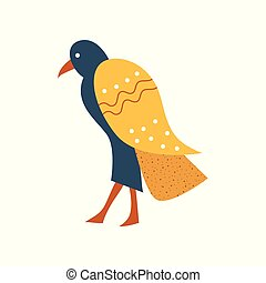 Falcon, blue bird with golden wings symbol of traditional Egyptian culture cartoon vector Illustration
