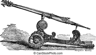 Falcon cannon vintage engraving - Old engraved illustration...