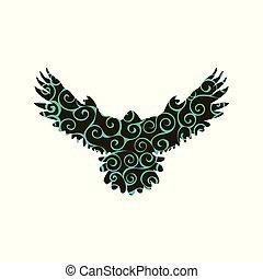 Falcon hawk bird spiral pattern color silhouette animal....