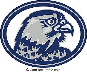 Falcon Head Side Oval Retro - Illustration of a falcon hawk...
