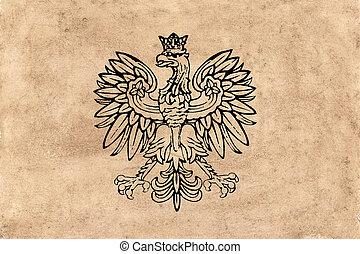 falcon heraldic design on old paper