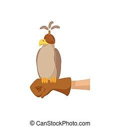 Falcon hunting cartoon icon. Falcon in special cap sittong...