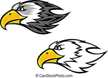 Cartoon falcon or hawk head for mascot or tattoo design