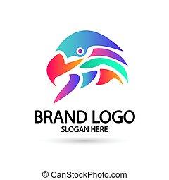 Falcon,eagle logo icon vector illustration design. Gradient Color